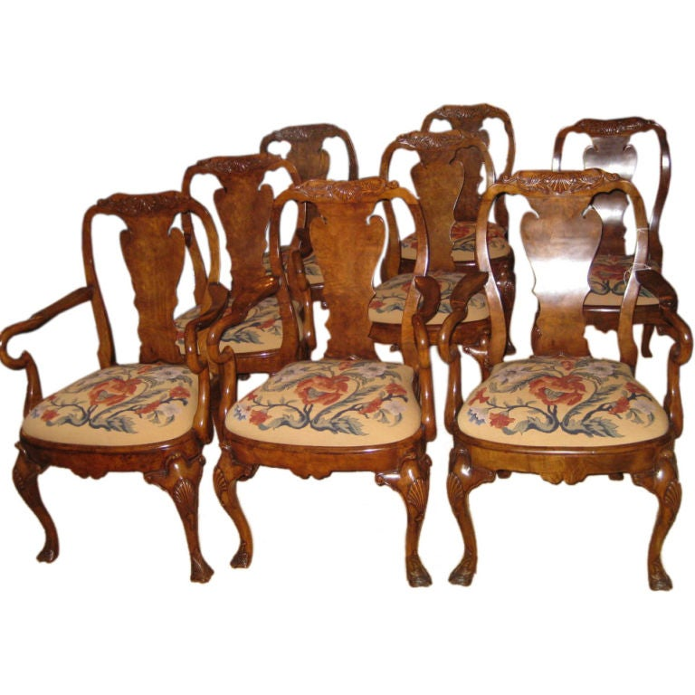 Set of six queen anne style dining chairs with tapestry for Dining room chairs queen anne