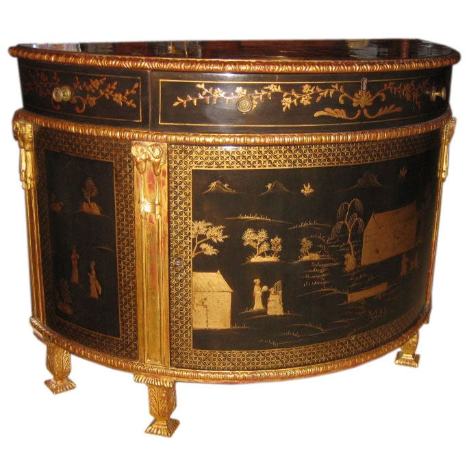 Chinoiserie Demilune Console Cabinet At 1stdibs