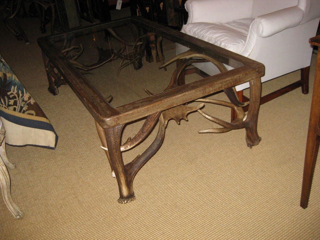 large elk horn and fallow deer antler glass top coffee table image 2