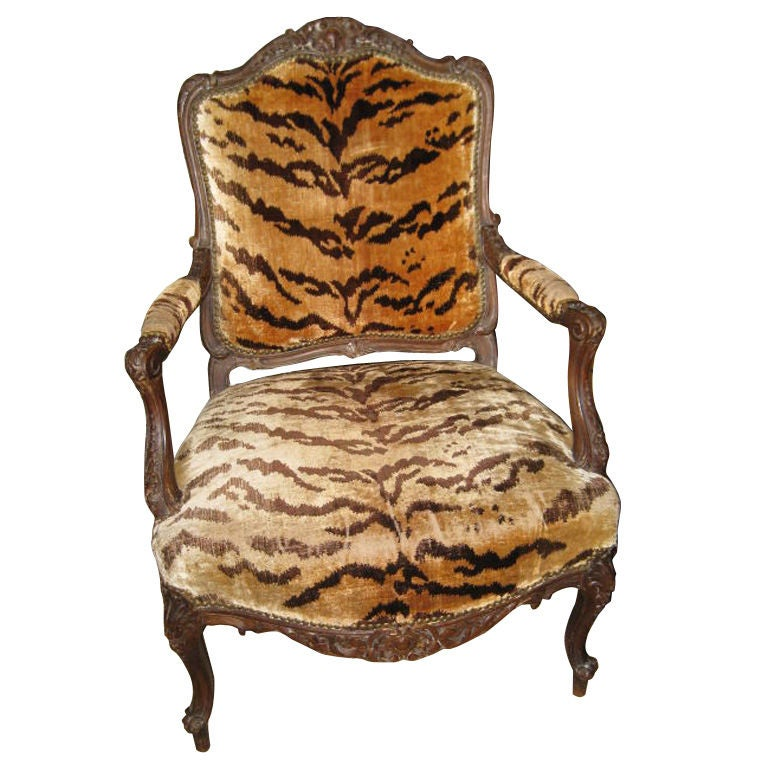 18th C French Arm Chair With Silk Velvet Tiger Textile At