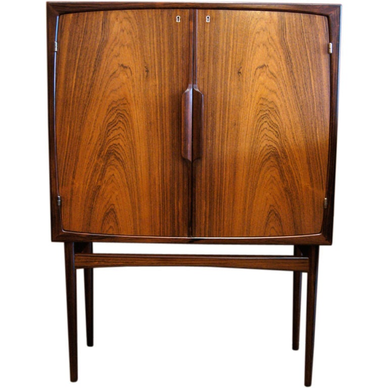 norwegian mid century modern bar cabinet in rosewood at