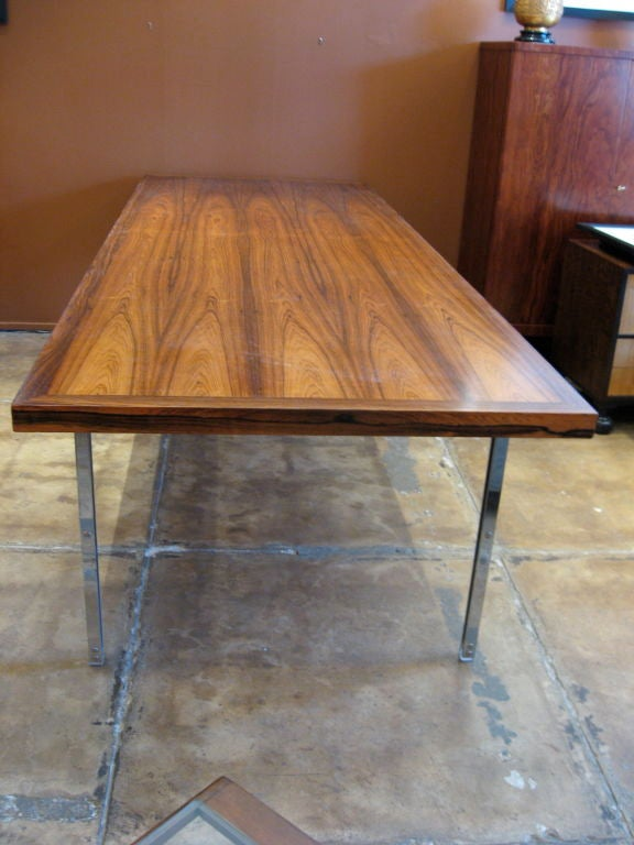 Nine foot long swedish rosewood dining table with chrome for 9 foot dining room table