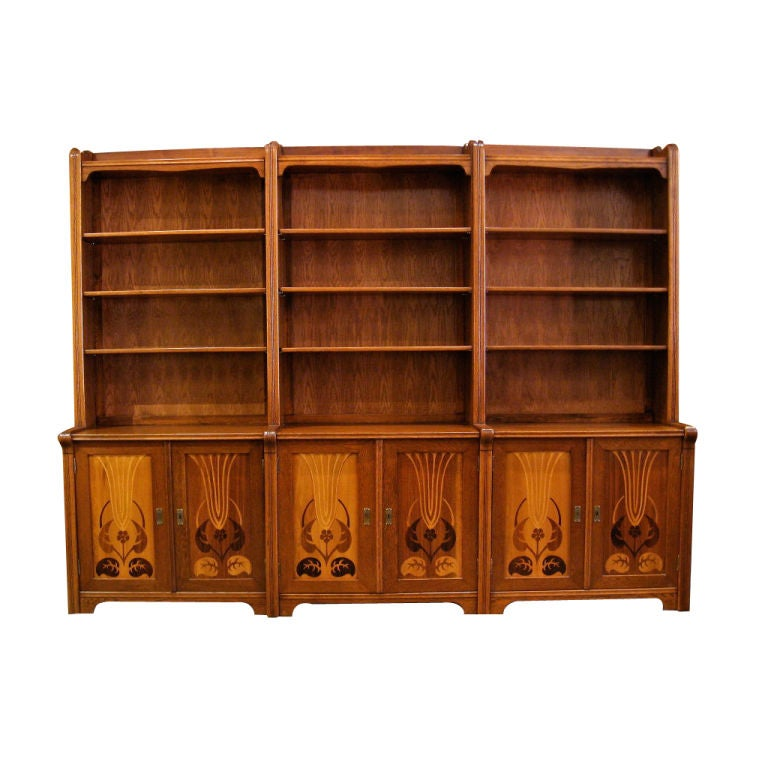 Set of three swedish arts and crafts inlaid bookcases for Arts and crafts storage cabinet