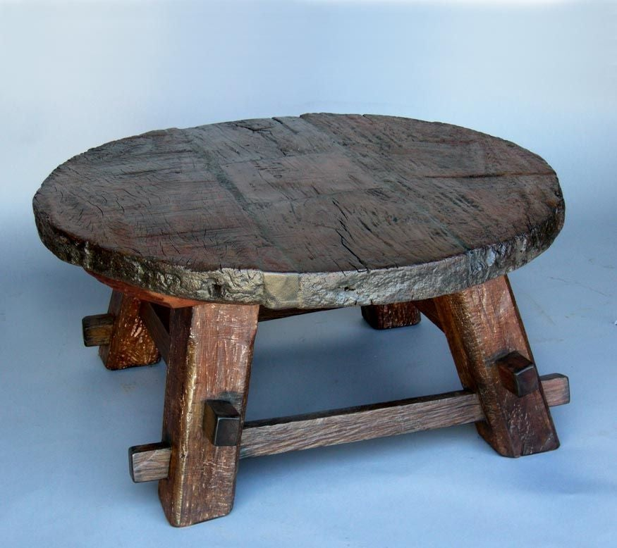Wooden Wheel Coffee Table At 1stdibs