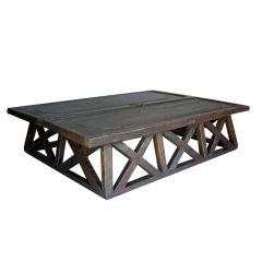 X Coffee Table With Antique Door Top