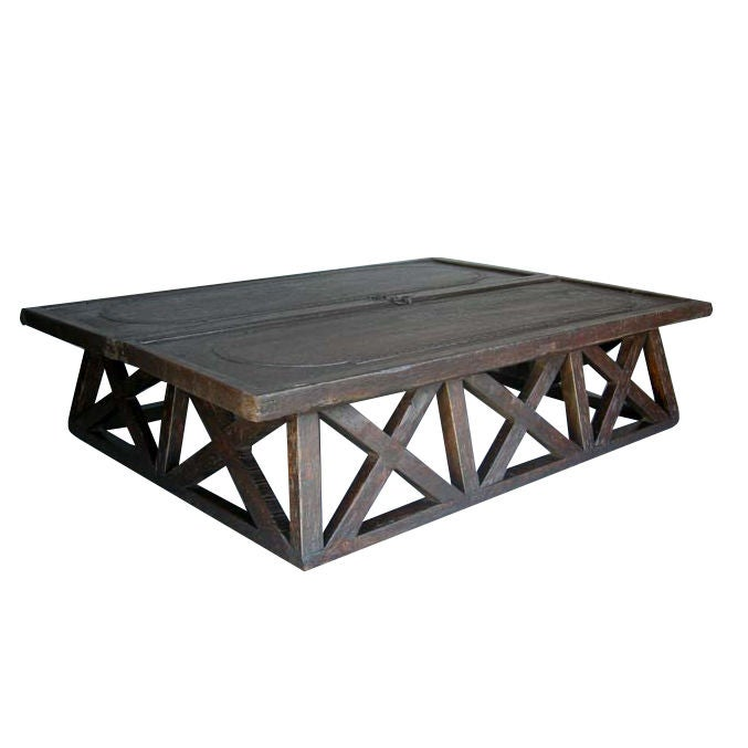 X Coffee Table With Antique Door Top At 1stdibs