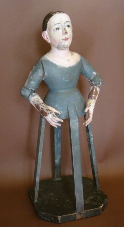 19th c. articulated virgin, stationary bottom and moveable arms. Meant to wear clothes. Beautiful, fine facial features. Original paint. One broken finger. Beautiful.