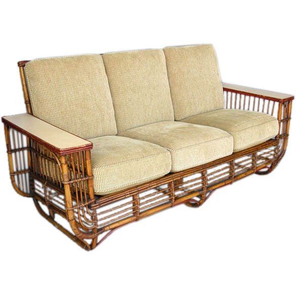 1930 39 s art deco bamboo sofa and chairs lounge set at 1stdibs for Art deco living room chairs
