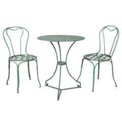 French 1920s Wrought Iron Bistro Table and Chairs