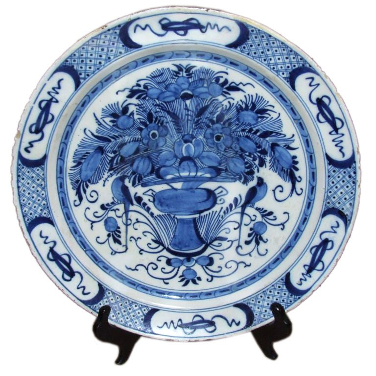 18th Century Dutch Delft Charger For Sale