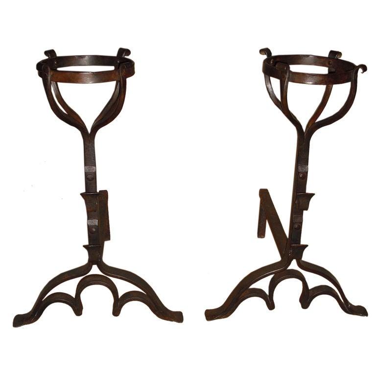 Pair of Wrought Iron Basket Top Andirons