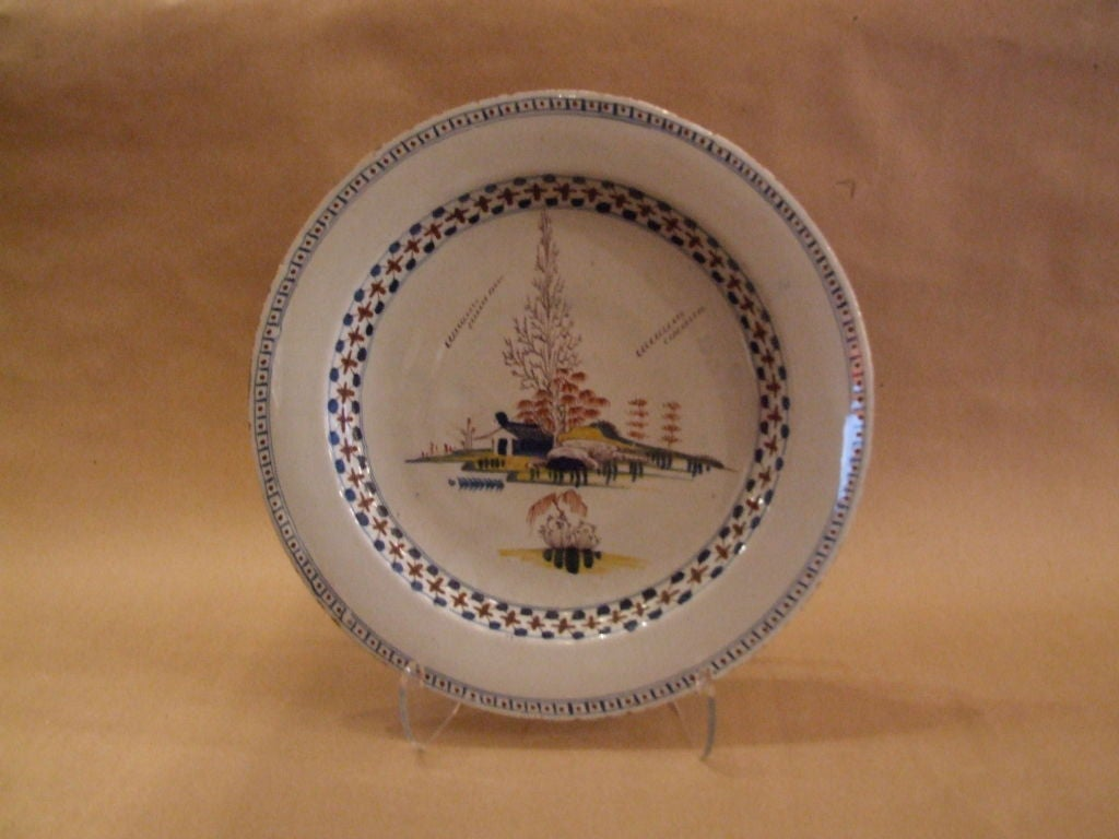 Georgian 18th Century English Polychrome Delft Charger For Sale