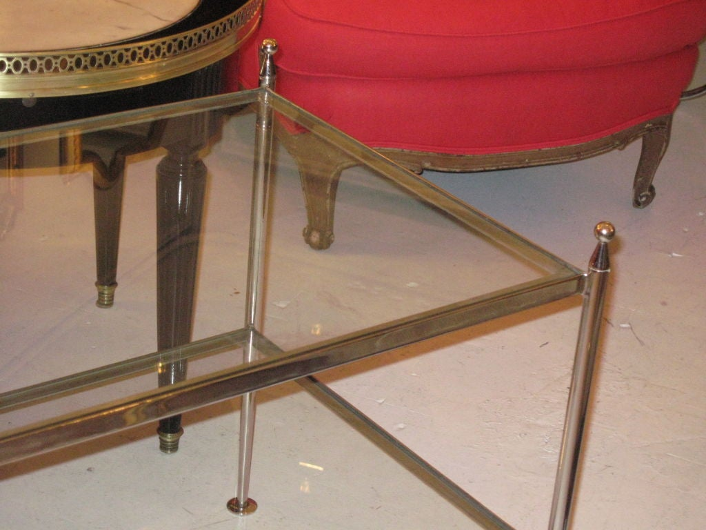 Silver Plated Two Tiered Glass Top Coffee Table At 1stdibs