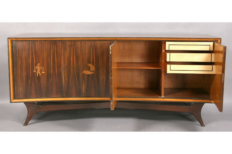Mid century modern Italian sideboard w curved front at