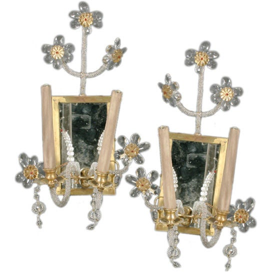 Pair of Whimsical 1940s Beaded Sconces
