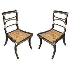 Pair of Regency Caned Klismos Chairs