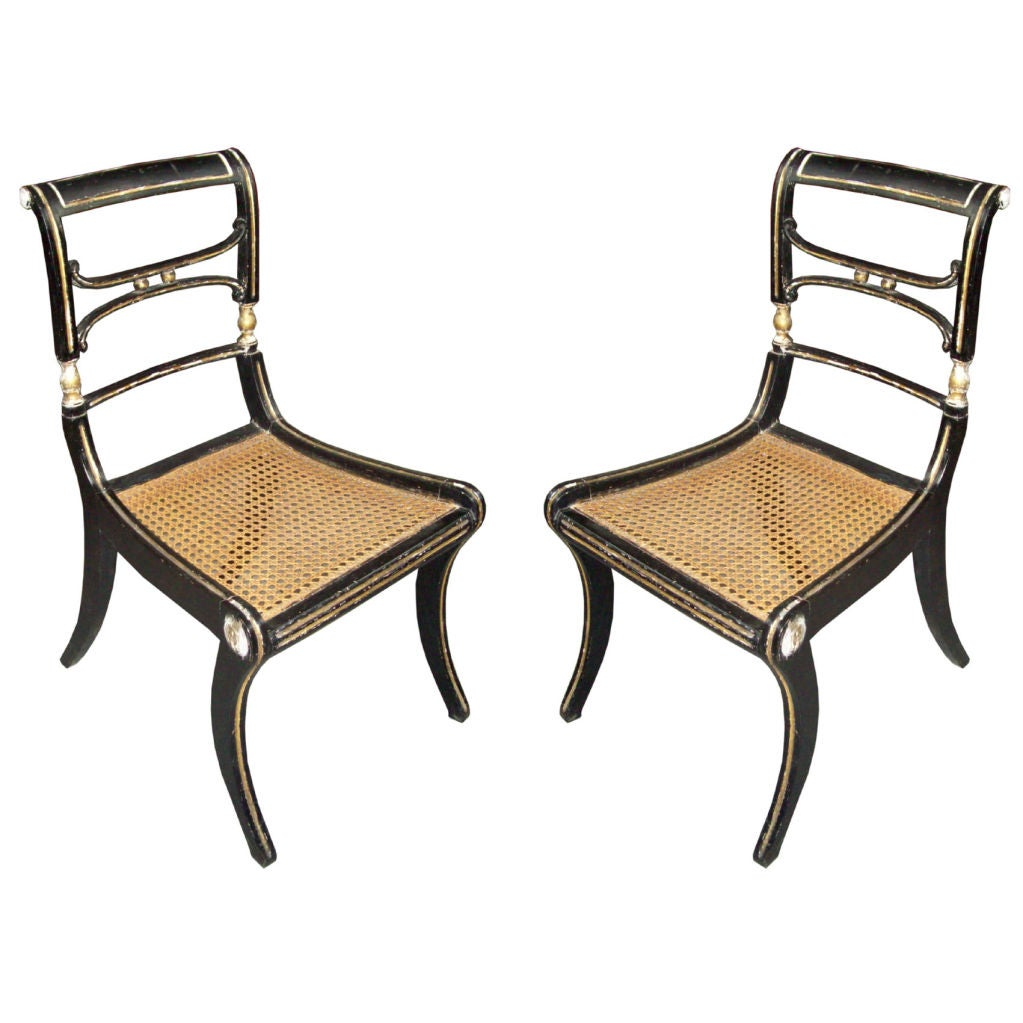 pair of regency caned klismos chairs for sale at 1stdibs