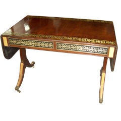 Regency Style Brass-Inlaid Sofa Table On Castors