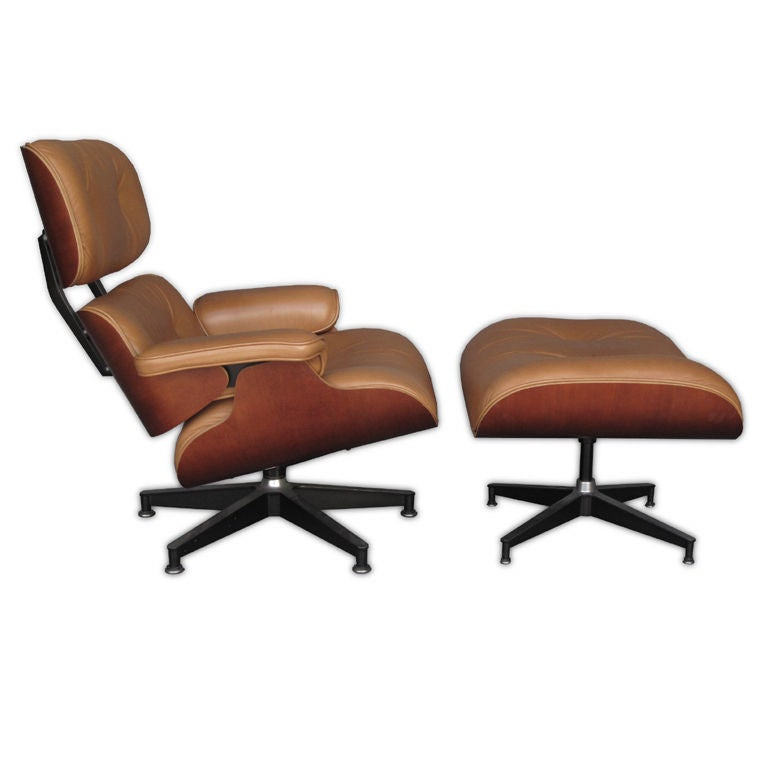 Eames Lounge Chair And Ottoman Walnut And Tan Leather At 1stdibs
