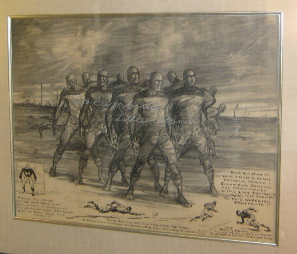 Wonderfully stylized newspaper illustration original in pencil and ink on paper is signed and dated on the front. Early Burris Jenkins, important newspaper sports cartoonist, prolific  from the 1940s through 1960s.  A fantastic early piece of Ivy