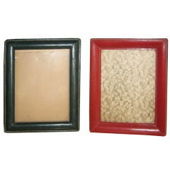 Two French Hand-Stitched Leather Picture Frames