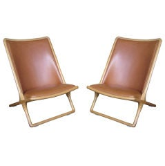 Pair of Ward Bennett Scissor Chairs