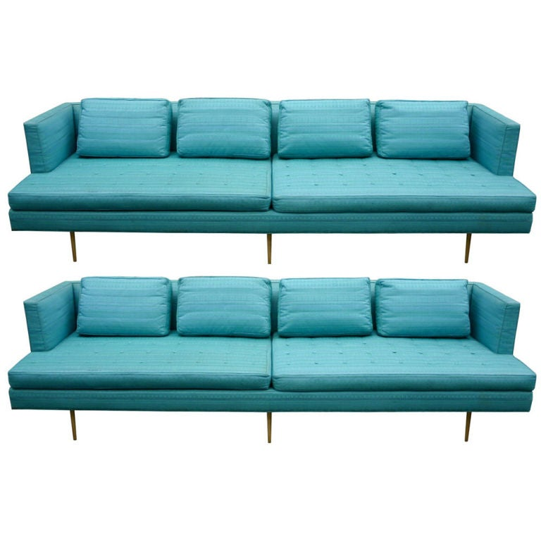 Pair Edward Wormley 9ft Sofas For Sale