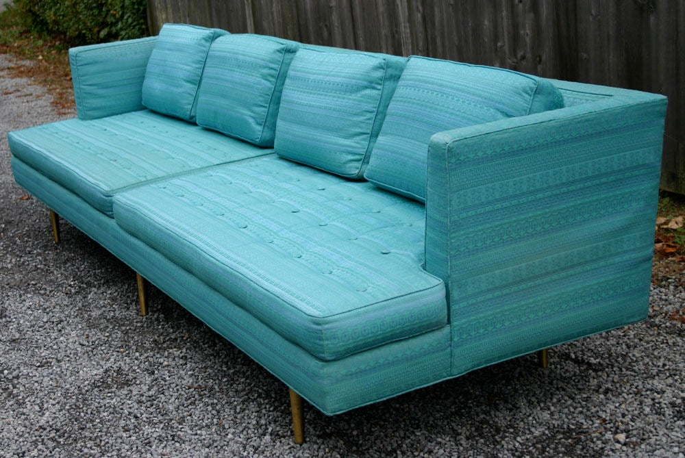 Fabric Pair Edward Wormley 9ft Sofas For Sale