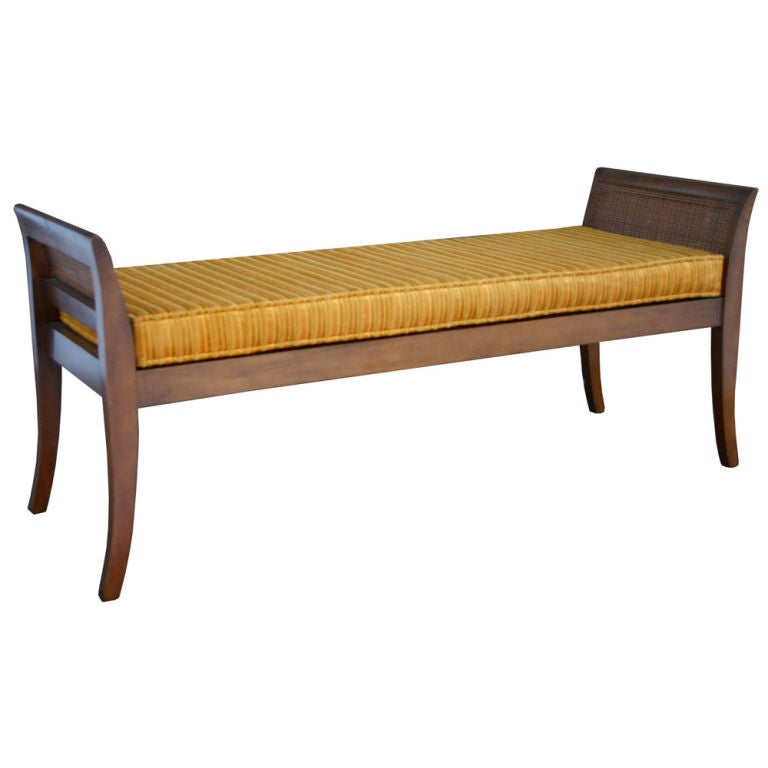 Walnut And Cane Bench At 1stdibs