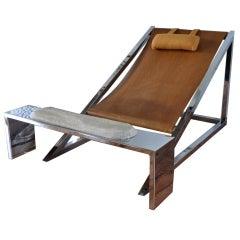 """Mies"" Arm Chair & Ottoman-Archizoom-Original Condition"