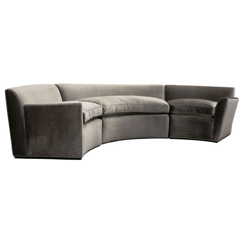 Curved three piece sectional sofa by james mont at 1stdibs for 3 piece black modern sectional sofa
