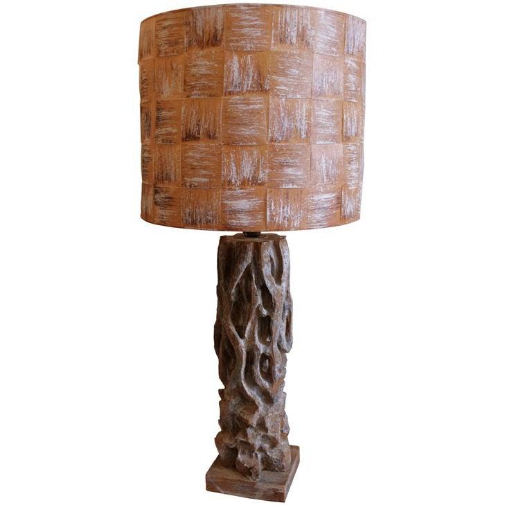 oversized carved wood table lamp by james mont at 1stdibs. Black Bedroom Furniture Sets. Home Design Ideas