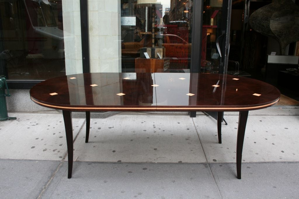 mahogany dining table with inlaid tiles by tommi parzinger at 1stdibs