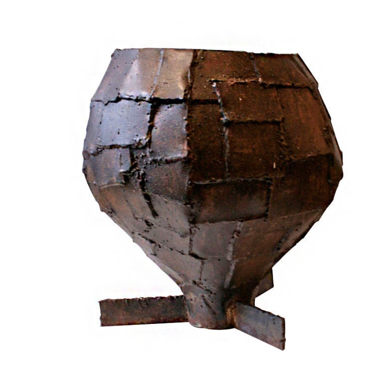 Rare Welded Patchwork Steel Urn 1