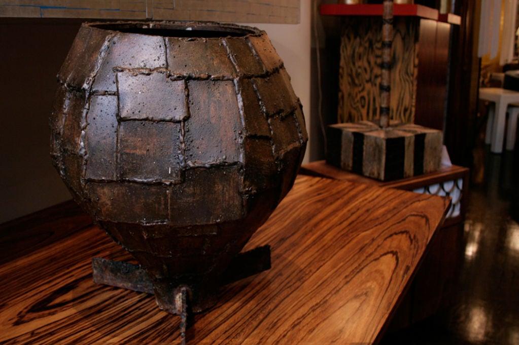 Rare Welded Patchwork Steel Urn 3