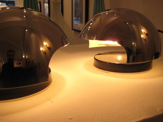 A pair of unusual bedside lamps by Reggiani, Italy, 1970's.