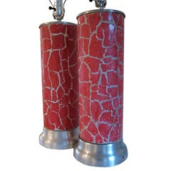 A Pair of Column Lamps by Bouck White In Crackle