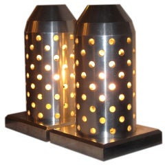 A Pair of Bullet Shaped Super Industrial Table Lamps