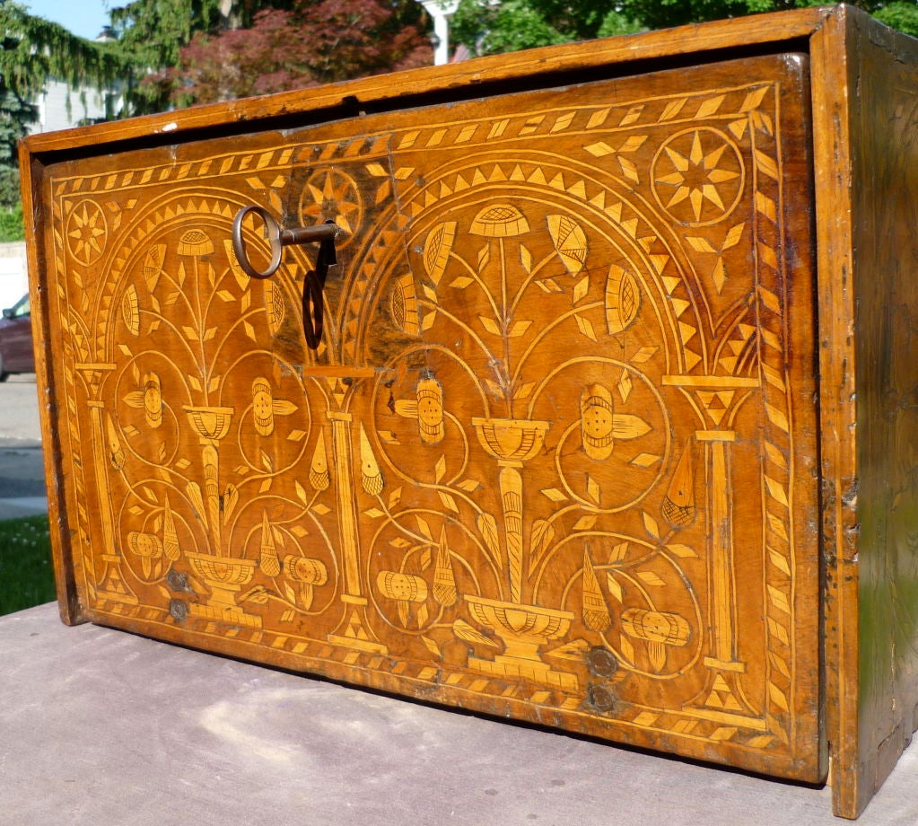 Spanish Colonial Inlaid Table Top Vargueno At 1stdibs