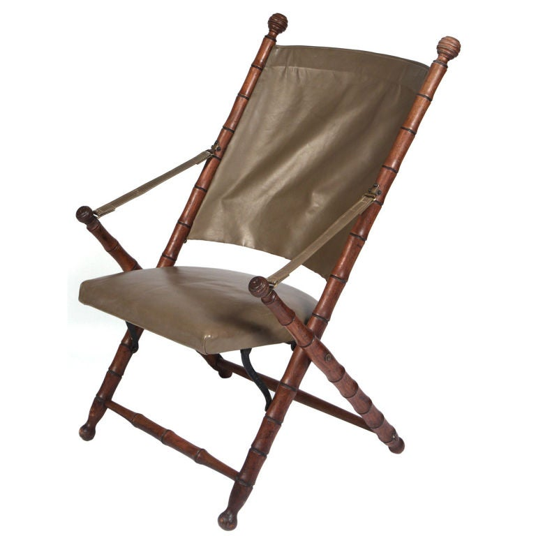 English Folding Leather Campaign Chair