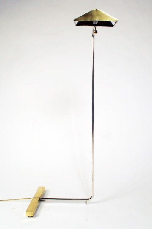 Brass and chrome adjustable reading lamp by cedric hartman for Lexington floor lamp chrome