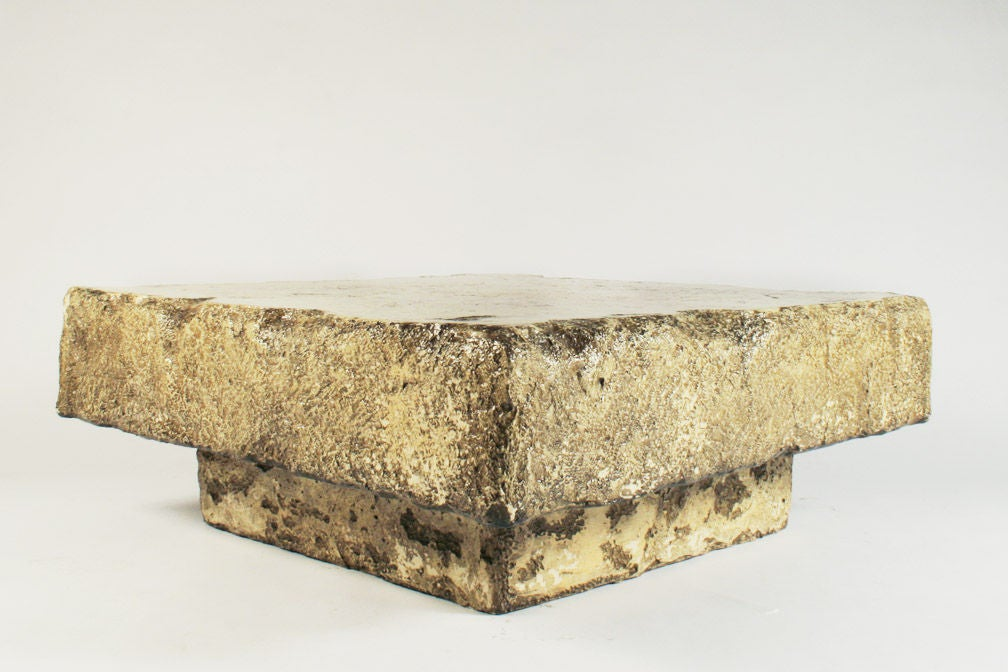 Square Faux Chiseled Stone Cocktail Table By Silas Seandel For Sale At 1stdibs