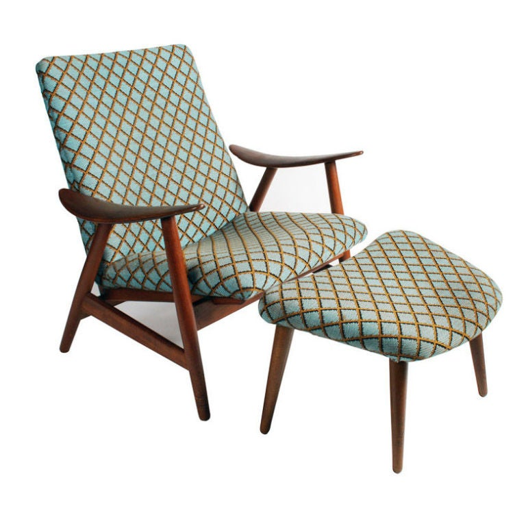 Danish Modern Upholstered Lounge Chair And Ottoman At 1stdibs