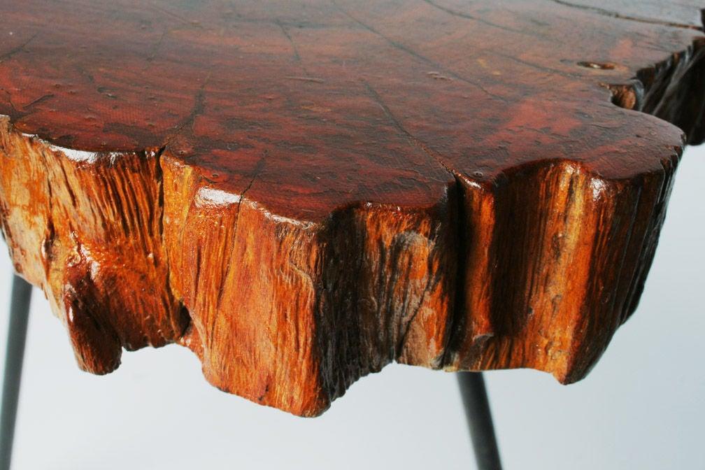 Organic Cypress Tree Slab Tripod Table For Sale 2
