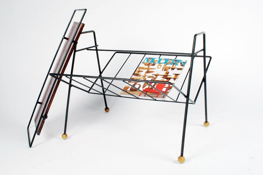 Mid-20th Century Magazine Rack Tray Table by Tony Paul For Sale