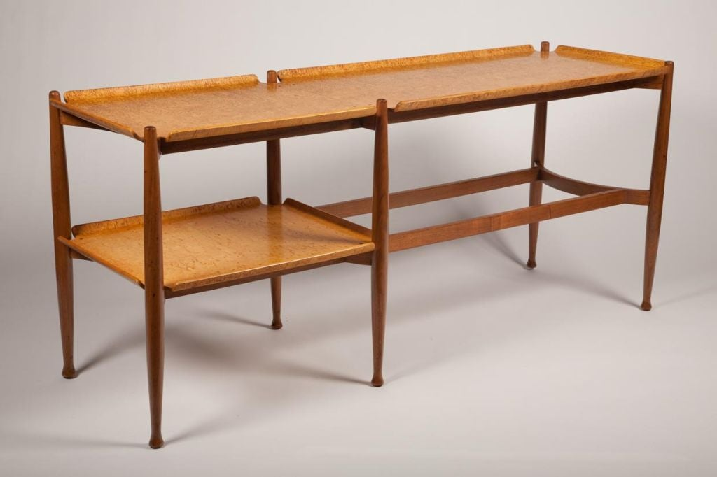 Plywood Console Table ~ Spare burl maple plywood tray console table by edward j