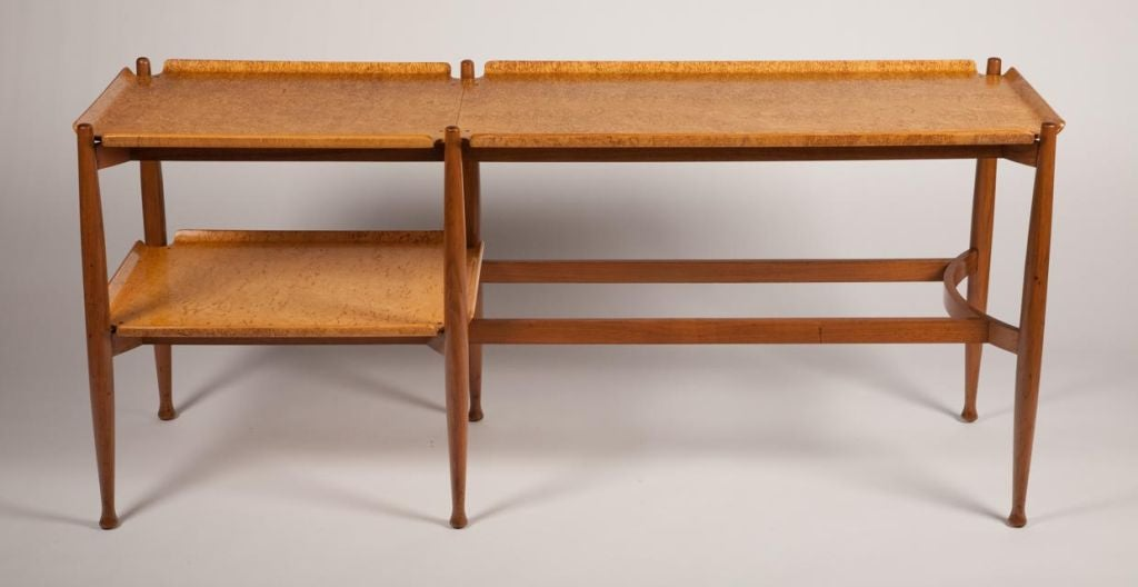 Spare burl maple plywood tray console table by edward j