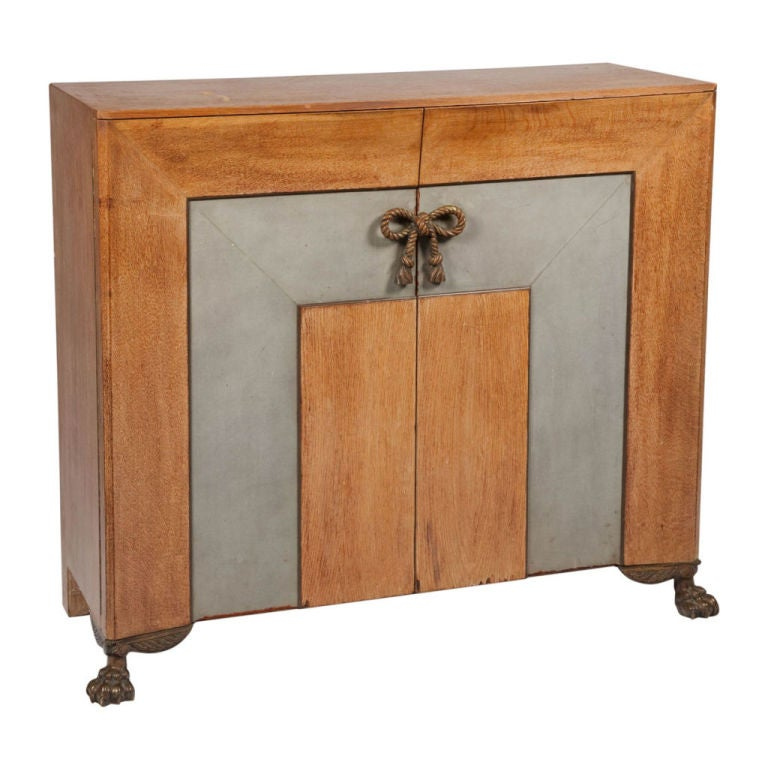 Leather, Oak and Bronze Sideboard after Andre Arbus