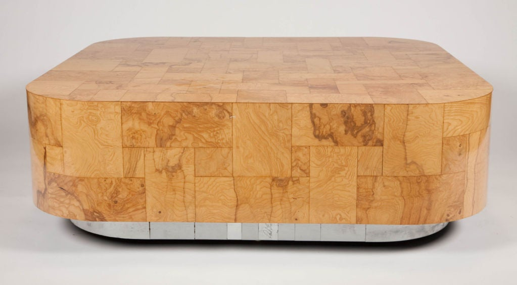 Mid-Century Modern Patchwork Burl Panel Cityscape Cocktail Table by Paul Evans For Sale