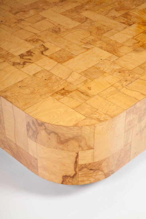 Lacquered Patchwork Burl Panel Cityscape Cocktail Table by Paul Evans For Sale